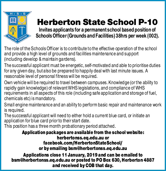 Herberton State School Permanent School Based Position School Office - Grounds and Facilities
